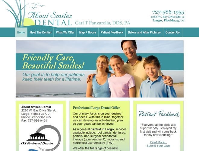 About Smiles Dental Website Look and Feel