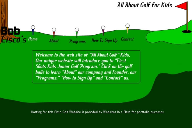 All About Golf Kids Website Look and Feel