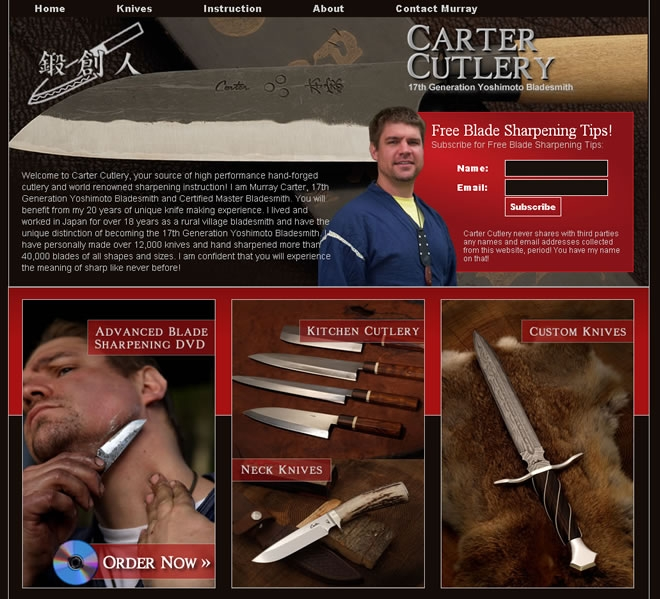 Carter Cutlery Website Look and Feel