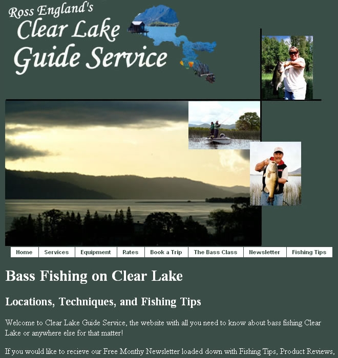 Clear Lake Guide Services Website Look and Feel