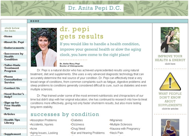 Dr Pepi Website Look and Feel