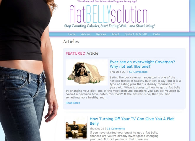 Flat Belly Solution Website Look and Feel