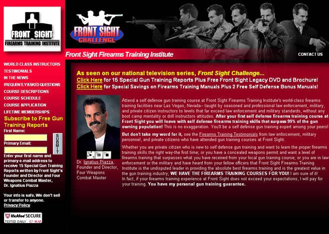 Front Sight Firearms Training Institute Website Look and Feel