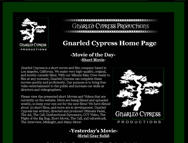 Gnarled Cypress Website Look and Feel