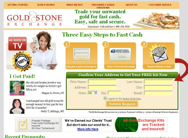 Gold and Stone Exchange Website Look and Feel