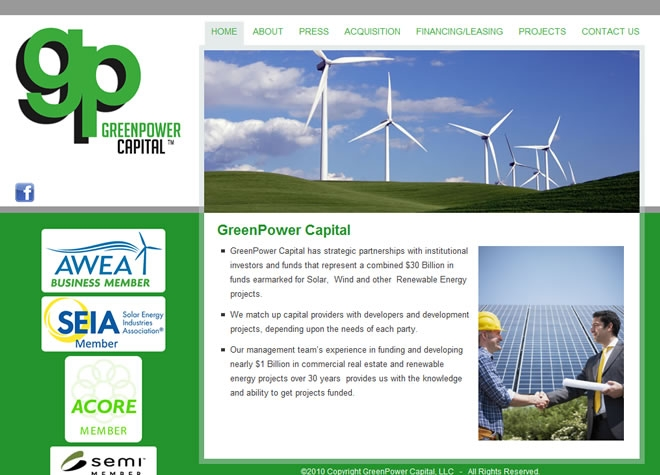 Green Power Capital Website Look and Feel