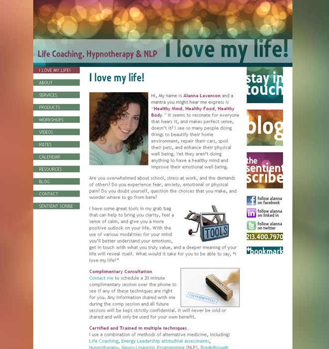 I Love My Life Website Look and Feel