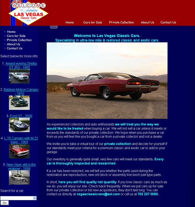 Las Vegas Classic Cars Website Look and Feel