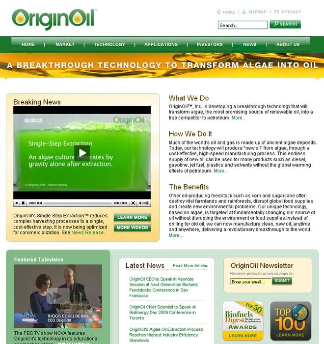 OriginOil Website Look and Feel