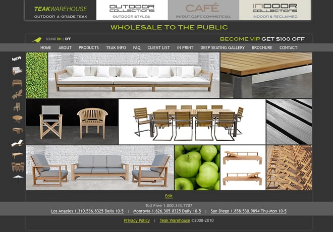 Teak Warehouse Website Look and Feel