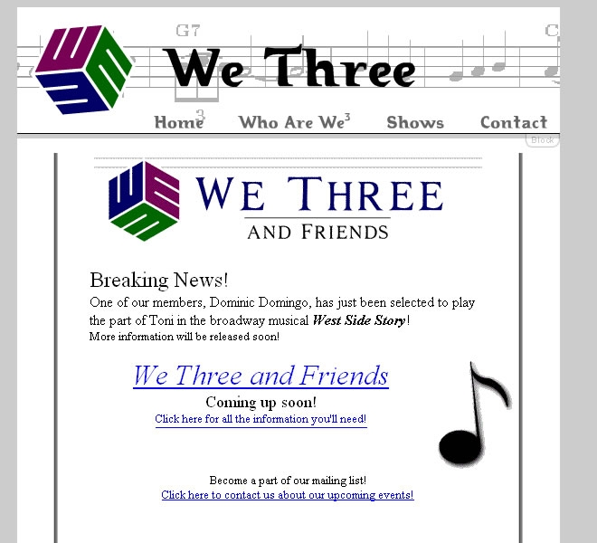 We3 Barbershop Trio Website Look and Feel