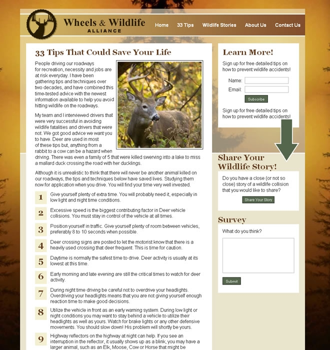 Wheels and Wildlife Alliance Website Look and Feel