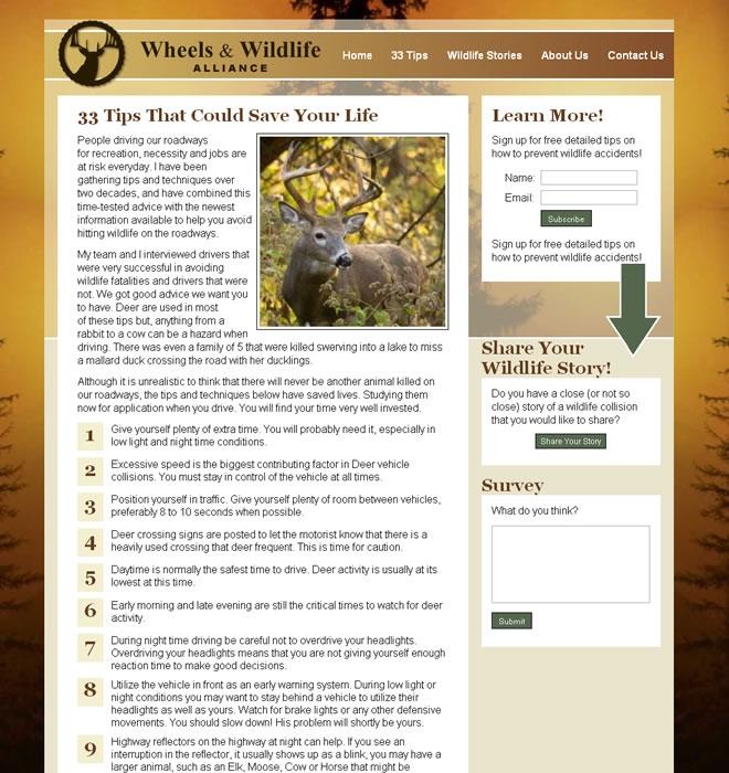 Wheels and Wildlife Alliance Website Design on Desktop and Mobile