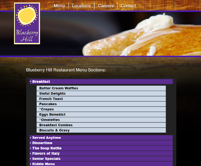 Blueberry Hill Family Restaurants Website Look and Feel