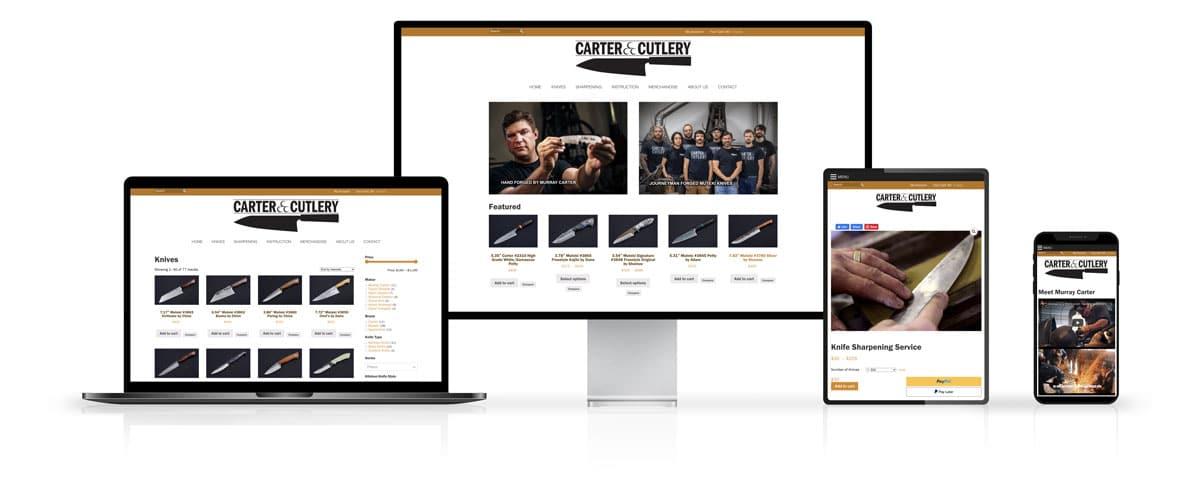 Carter Cutlery Website Design on Desktop and Mobile