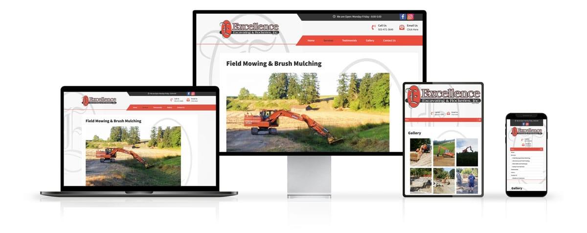 Excellence Excavating & Rockeries, Inc. Website Design on Desktop and Mobile