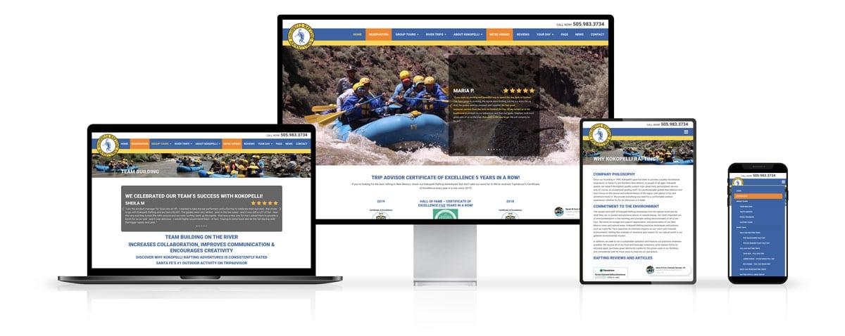 Kokopelli Rafting Adventures Website Design on Desktop and Mobile