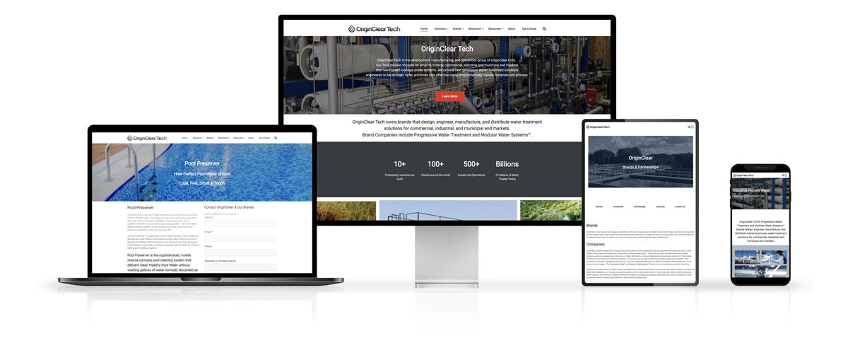 OriginClear Website Design on Desktop and Mobile