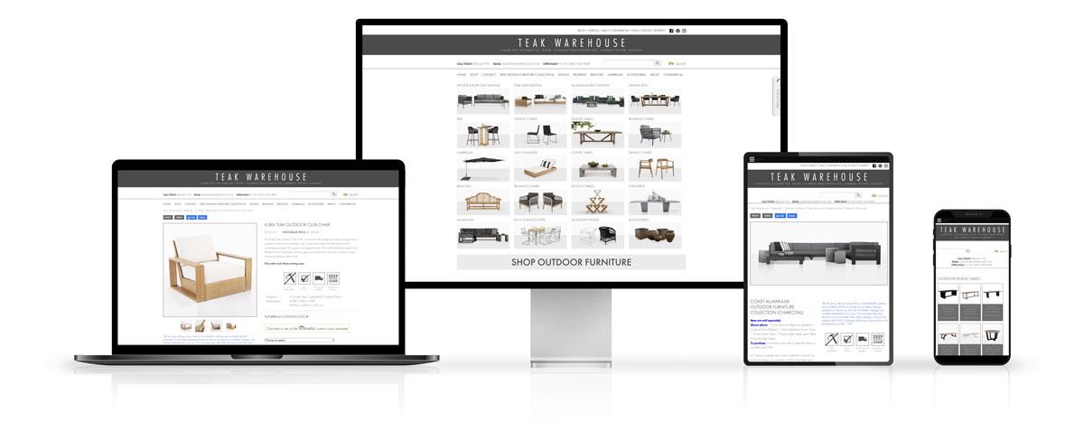 Teak Warehouse Website Design on Desktop and Mobile